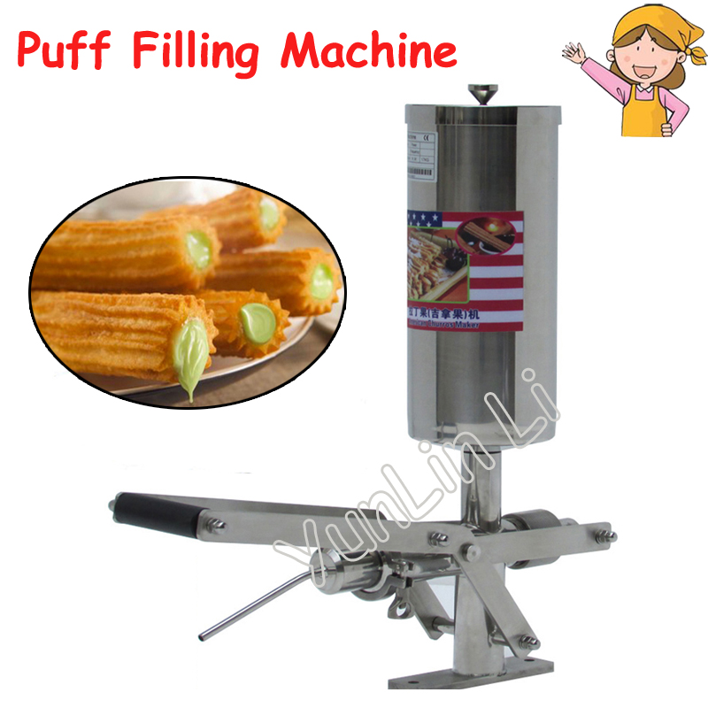 5L Stainless Steel Jam Filler Puff Filling Machine Churros Stuffer Fried Bread Stick Filling Machine NP-25 12l electric automatic spain churros machine fried bread stick making machines spanish snacks latin fruit maker