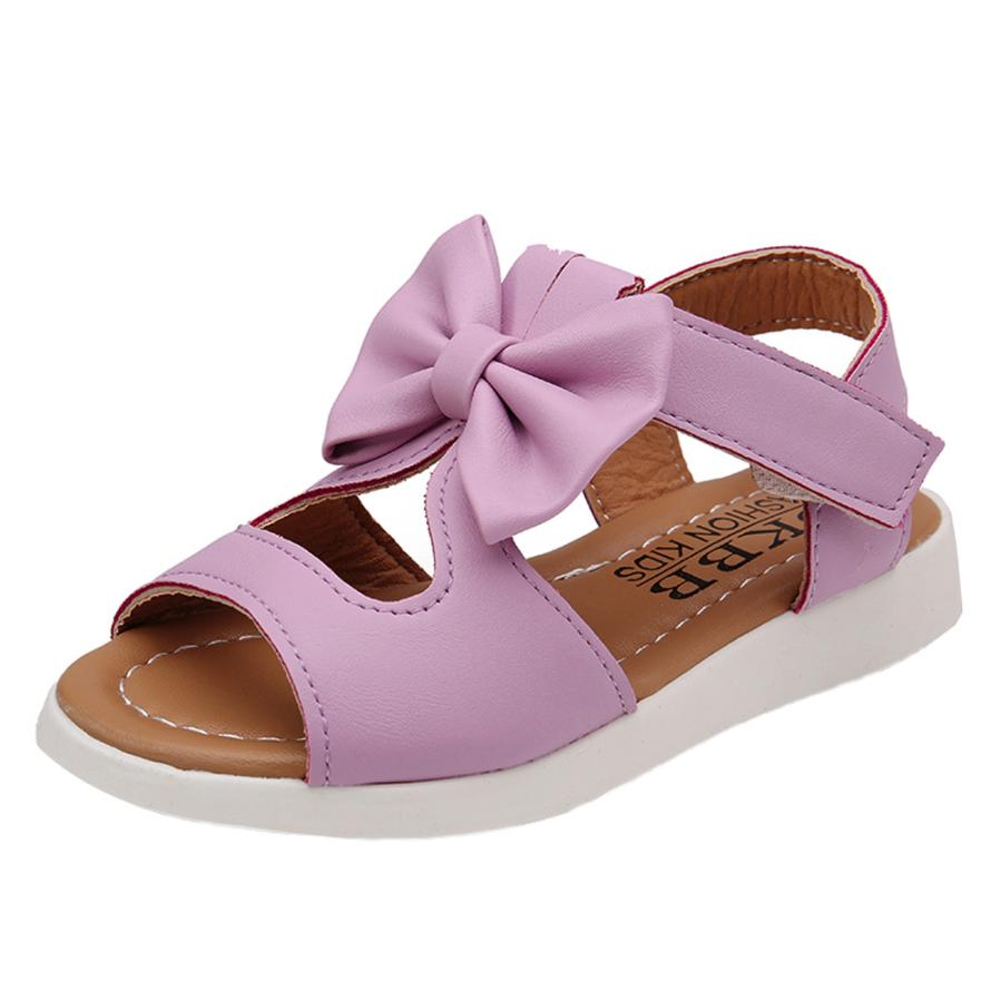 Summer Kids Children Sandals Fashion Bowknot Girls Flat Pricness Shoes  5.15
