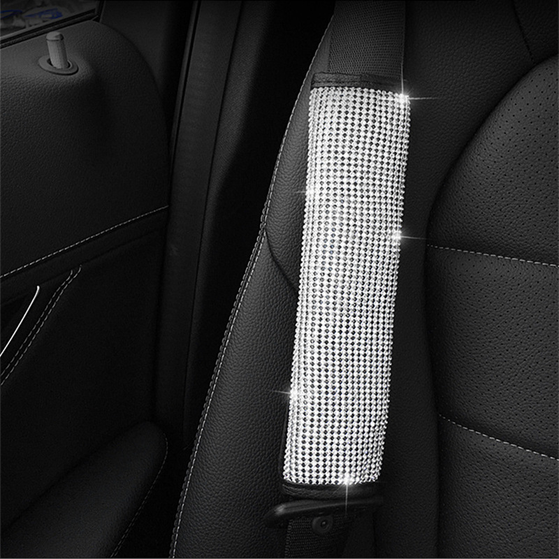 Bling-Bling-Rhinestones-Crystal-Car-Handbrake-Grips-Cover-Gear-Shift-Collars-cover-Seat-belt-cover-pad