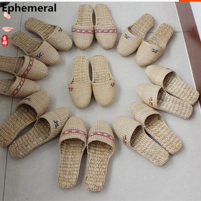 Леди И Человек Alfa Тапочки Ручной работы Китайский Стиль Трава Обувь Плюс размер 34-45 женские Шлепанцы Мужчин Дома Скольжения На Бытовые