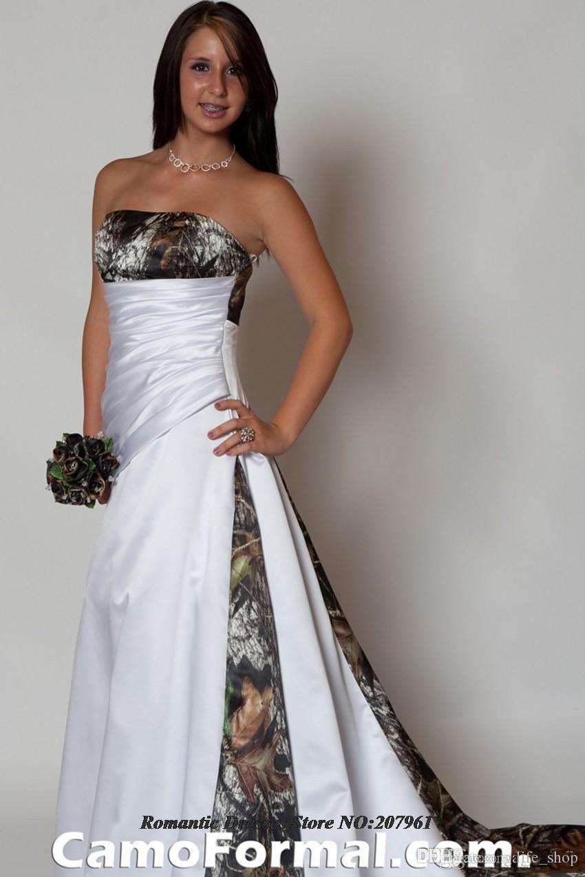 2015 Elegant Strapless White Satin A Line Camo Wedding Dresses Bridal Gowns Camouflage Vestidos De Novia