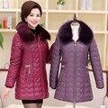 Mulheres jaqueta de inverno casacos de pele das mulheres de meia idade e idosos além de Espessamento da cultivar longa Tops 2016 algodão PZ2654090-1503