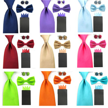 Men Solid Bowtie 8cm Necktie Pre-folded 4 Folds Hanky Pocket Square Cufflink Set  BWSET0043