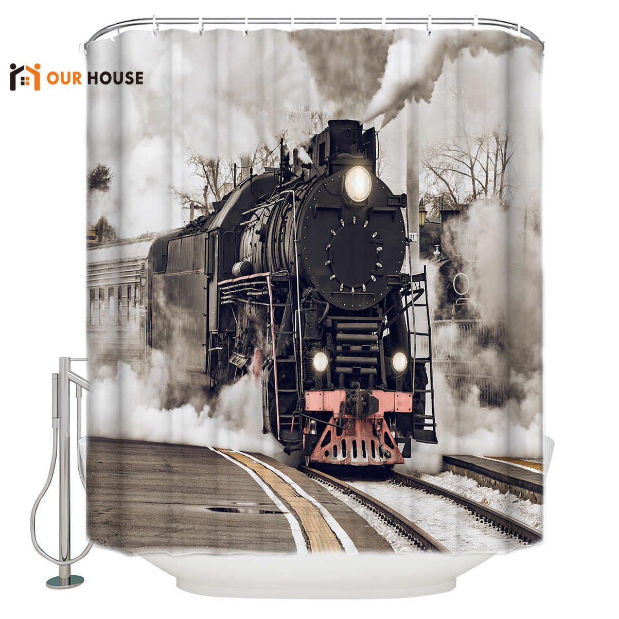 Shower Curtains For Mens Bathroom.Ourhouse The Steam Age Of Old Trains Shower Curtain Bathroom Bathroom Sets Childrens Unique Hotel Cloth Hooks Girls Mens Cool