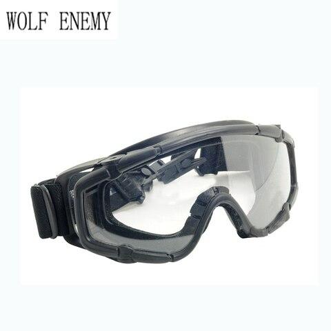 Esportes de Esqui Balísticos para Capacete Preto Paintball Airsoft Óculos Anti Nevoeiro &