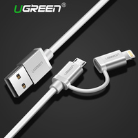 Ugreen 2 In 1 Micro USB 8 Pin MFI Certified Cable Lighting To USB 2 4A