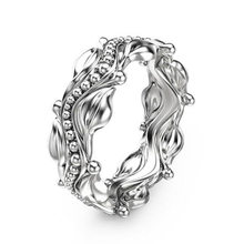 100% 925 Sterling Silver Ring Women's Floral Ring Birthday Gift Flowers Vine leaves Engagement Party Rings Jewelry Carved(China)