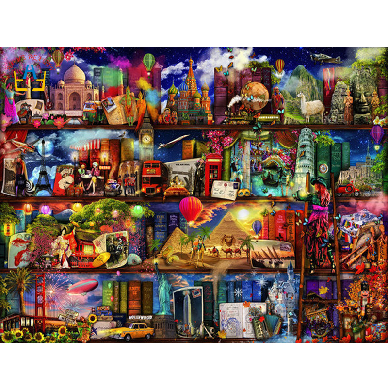 diy diamond embroidery cross stitch complete square rhinestones cartoon world pictures painting wall art diamond mosaic SK383