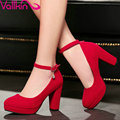 VALLKIN Size 42 43 Rhinestone Ankle Strap Woman Pump Thick High Heel Flock Ladies Summer Shoes Fashion Platform  Ladies  Shoe