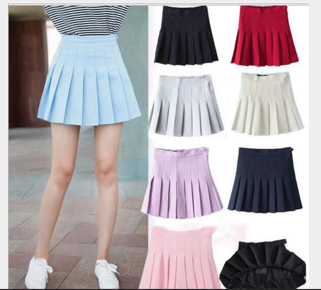c47953e1f09b Sweet Pleated Skirt Women Preppy Style Mini High Waist Skirt Girls Vintage  Black White Cute School Uniforms Skirt