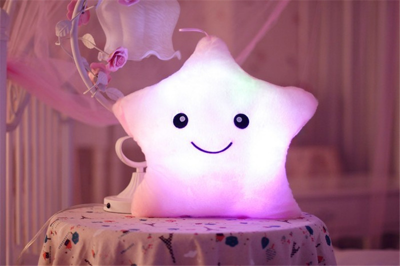 1 unids 38 cm * 35 cm estrella en forma de almohada luz led linda - Muñecas y peluches - foto 2