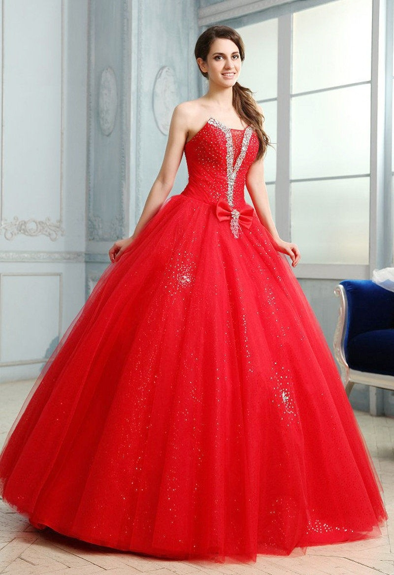 3cfd053f114 Classy 2015 red chiffon ball gown Quinceanera Dress Back lace up Scalloped  with bow crystal elegant long Prom Dress Hot Sale-in Quinceanera Dresses  from ...