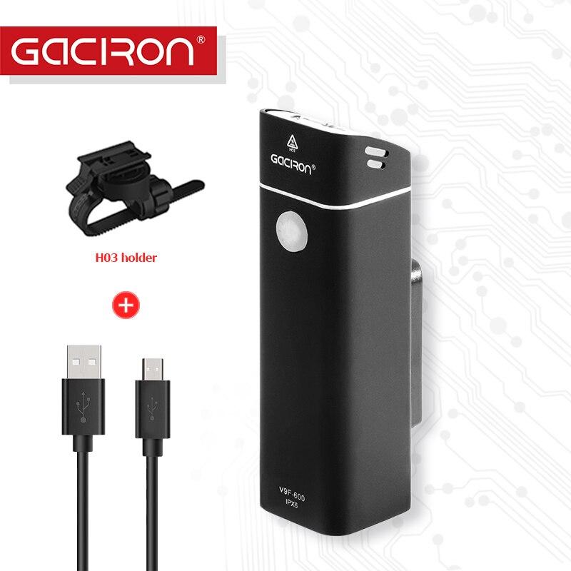 Gaciron 600 Lumen USB Wiederaufladbare Aluminiumlegierung fahrrad Scheinwerfer Draht-steuerung IPX6 Wasserdichte Bike taschenlampe zubehör