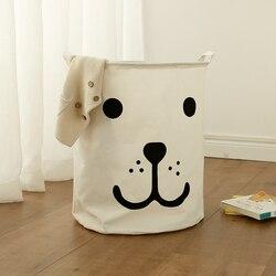Portable Laundry Basket Kids Toy Organizer Storage Basket Large Box Cotton Linen Washing Clothes Basket 40*50 Sundries Storage
