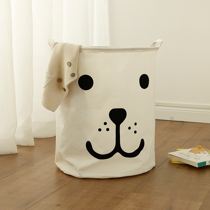 Portable Laundry basket toy storage bag large box Cotton Linen washing clothes basket sleep bear 40*50 sundries storage