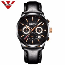 NIBOSI Official Men's Luxury Business Quartz Watch Casual Fashion Classic Analog Man Wristwatch Calendar Date Waterproof Leather