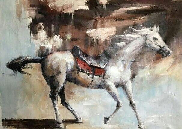 Не оформлена лошадь передал картину маслом по номерам Домашний Декор картина маслом на холсте стены Книги по искусству изображение