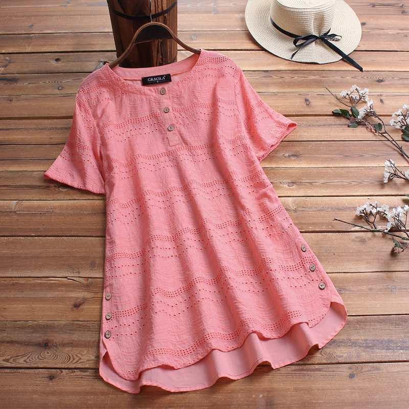 Summer Tunic Tops Hollow Out Blouse Women Vintage Short Sleeve Shirt Female Solid Casual Cotton Linen Blusas Robe Femme Chemise