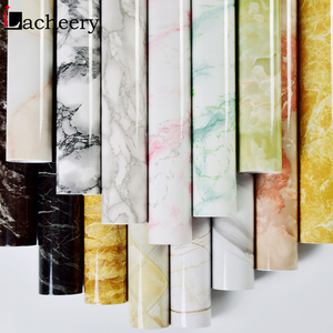 Image 2 - Современные Простые мраморные обои из ПВХ, водонепроницаемый настенный Декор для ванной комнаты, кухонные наклейки на столешницу, виниловая самоклеящаяся контактная бумага