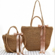 Japanese holiday style bolsa palha travel resort beach Handmade Handbag single shoulder solid women Beach knitting Straw Bags