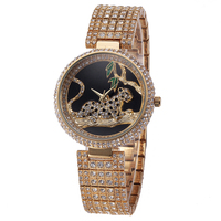 Luxury Watch MissFox Brand Golden Leopard Green Leaves Watches for Women Diamond Band Small Dial Fashion Dress Quartz Wristwatch