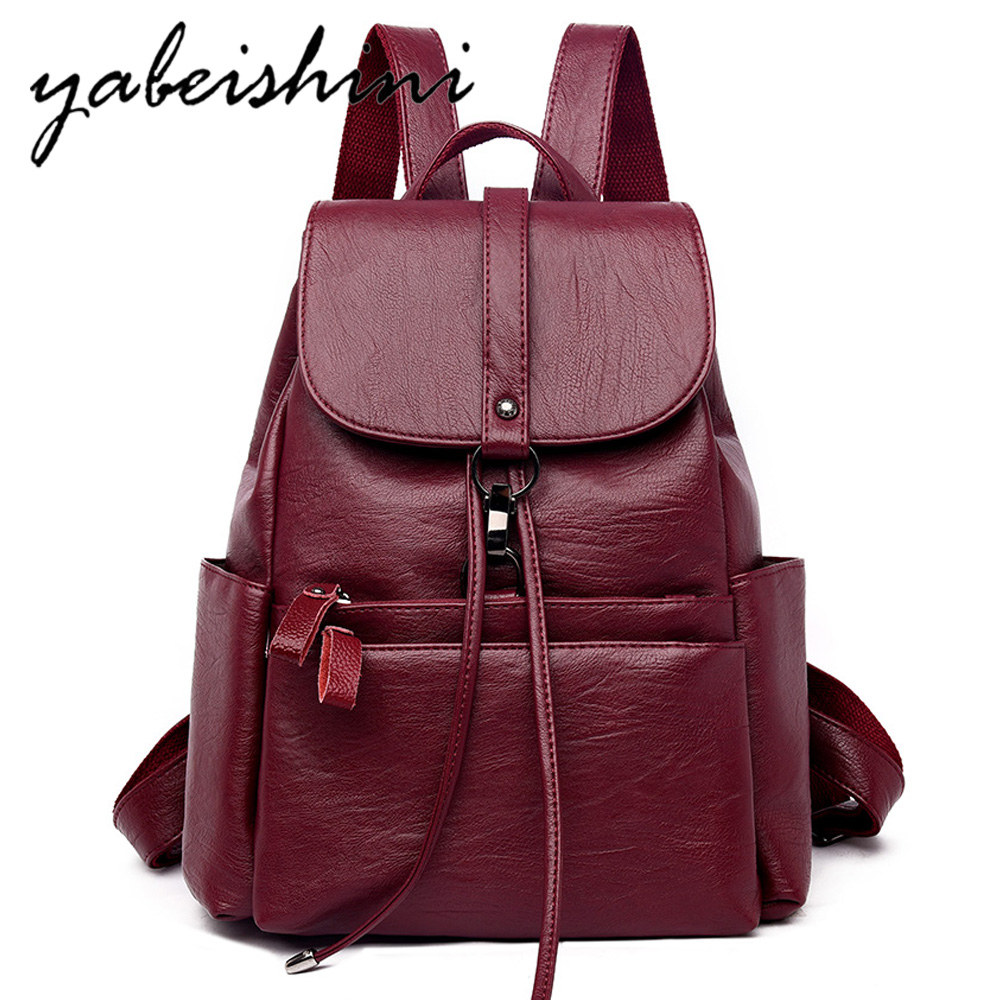 New Female Leather Backpacks Ladies Bagpack High Quality Sac A Dos Luxury Designer Large Capacity Casual Daypack Girl Mochilas in Backpacks from Luggage Bags