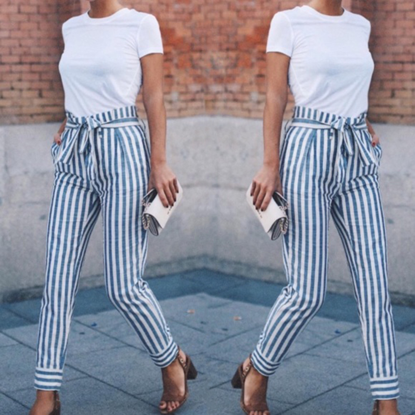 2018 new fashion spring and autumn women's casual waist Trousers blue striped patchwork pockets <font><b>Pants</b></font>