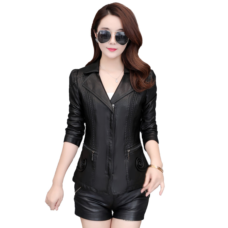 New Fashion 2019 Spring Autumn New Faux Leather Women Short Slim Basic Coat Plus Size 5XL