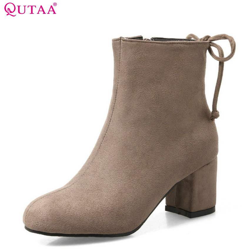 QUTAA 2018 Womwn Ankle Boots Scrub Fashion Square High Heel Round Toe Keep Warm Slip on All Match Women Boots Size  34-43 elite panaboard ub t880 купить