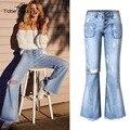 2017 Nova Primavera Calças Jeans de Lavagem de Moda Meados de Cintura Azul Fundo Queimado Calça Jeans Buraco Destruído Calça Palazzo Calças Das Mulheres femme