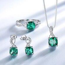 UMCHO 925 Sterling Silver Jewelry Sets For Women Gemstone Emerald Ring Pendant Stud Earrings For Women Wedding Fine Jewelry New цена 2017
