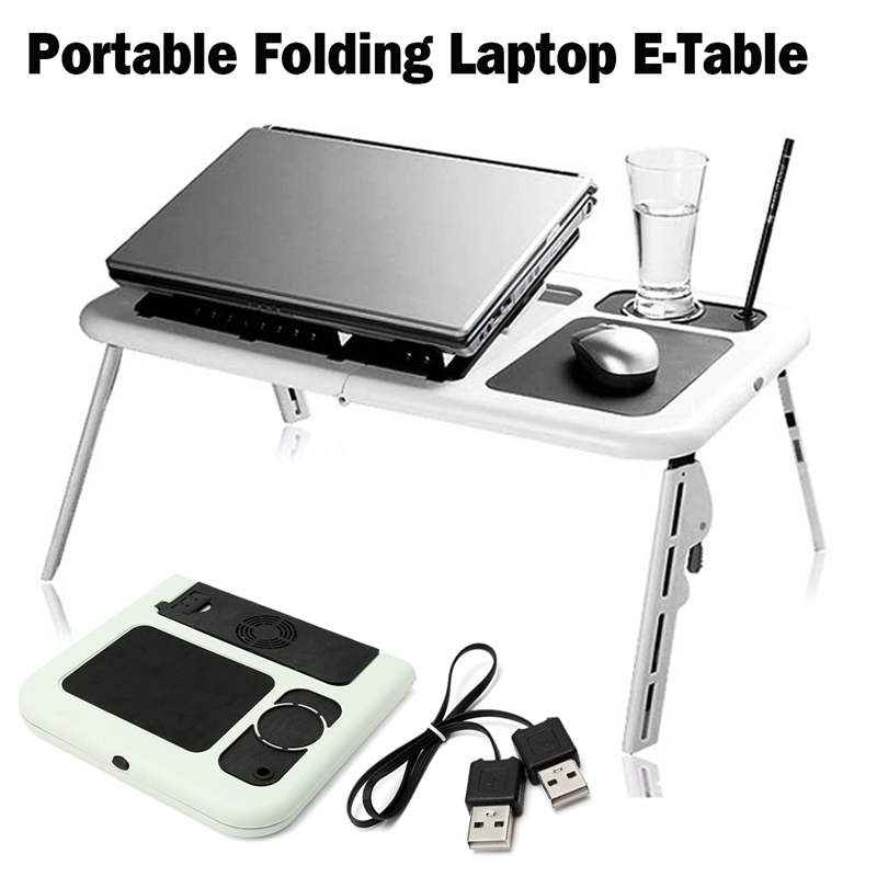 Adjustable Folding Laptop Table E-Table With Tray Cooling Fans Stand Home Portable Laptop Desk Bed Sofa Stand New Lapdesk replica habibi brass tray side table