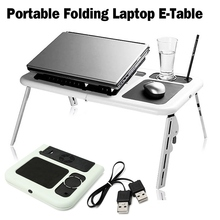 Adjustable Folding Laptop Table E-Table With Tray Cooling Fans Stand Home Portable Laptop Desk Bed Sofa Stand New Lapdesk