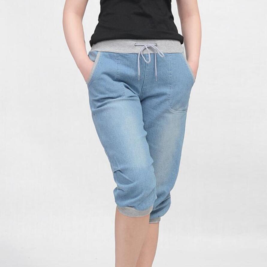 4XL plus size frauen pluderhosen jeans lose hosen für frauen denim - Damenbekleidung - Foto 2