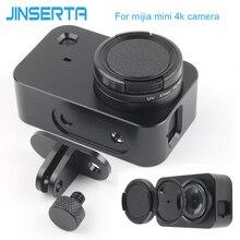 Jinserta proteção cnc caso quadro de alumínio para xiaomi mijia mini 4 k câmera com 37mm uv lente filtro + parafuso tampa protetor