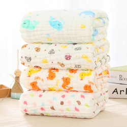 Winter Baby Muslin Blankets Swaddling 100% Cotton Swaddle Wrap for Newborn Babies 6 Layer Character Floral Printed Bath Towel