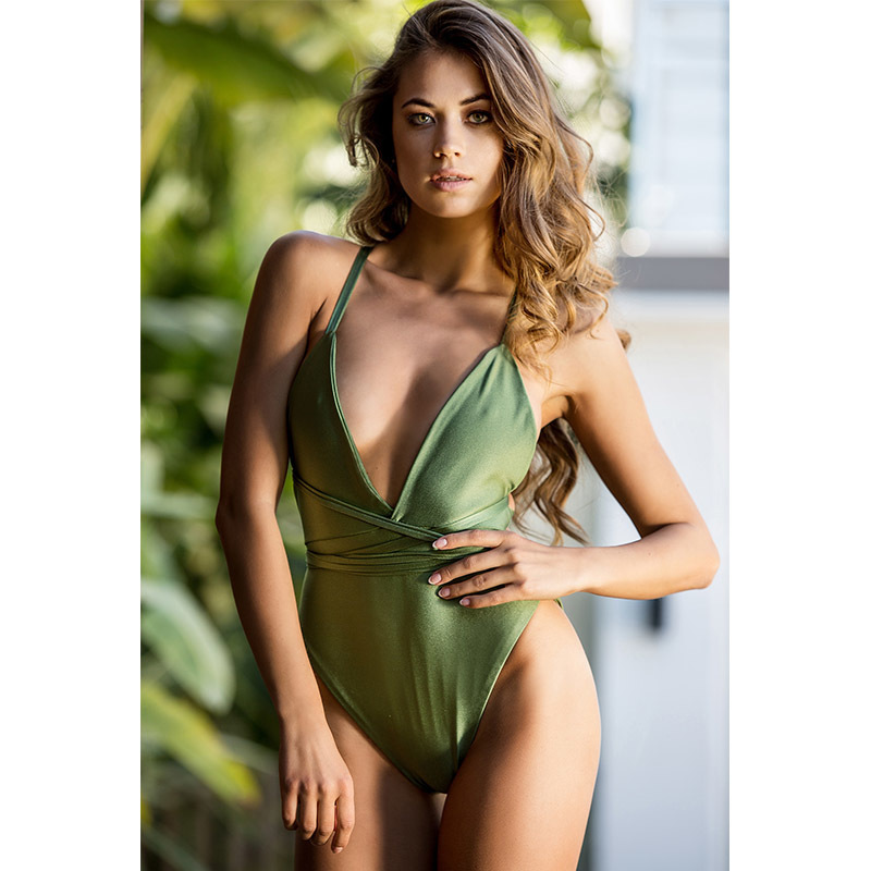 2018 Sexy One Piece Swimsuit Push Up Swimwear Women Bodysuit Print Bandage Beach Wear Bathing Suit Monokini Swimsuit