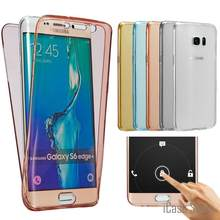 Per Samsung Galaxy Bordo Più A3 A5 A7 2016 S4 S5 S6 S7 Nota 4 5 J5 J7 Anteriore Trasparente TPU Soft Touch Caso full body Clear Case(China)