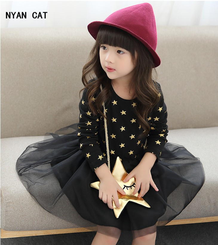 DHL EMS Free shipping Kids Toddlers Girls Children Long Sleeve Dot Tulle Dress + Star Purse Black Beige Kid Clothing 90-130 NEW toyfa black