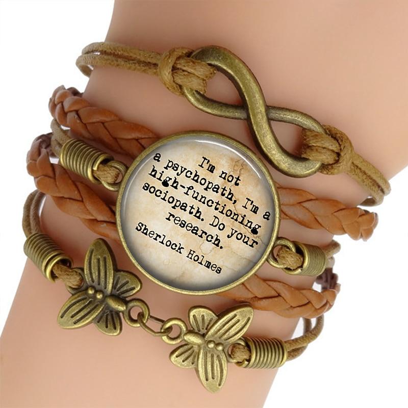 Sherlock Holmes Charm Bracelet Glass Cabochon Jewelry Vintage Multilayer Leather Bracelets