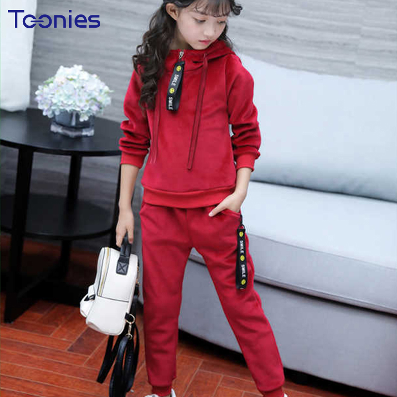 Warm Girls Sportswear Cashmere Girl Pants Suits 2018 Winter Thick Children Clothes Sets High Quality Hooded Kids Clothing Casual cute puppy baby girl clothes set children hoodies 2017 winter new boy hooded cashmere sweater kids thick two piece suit