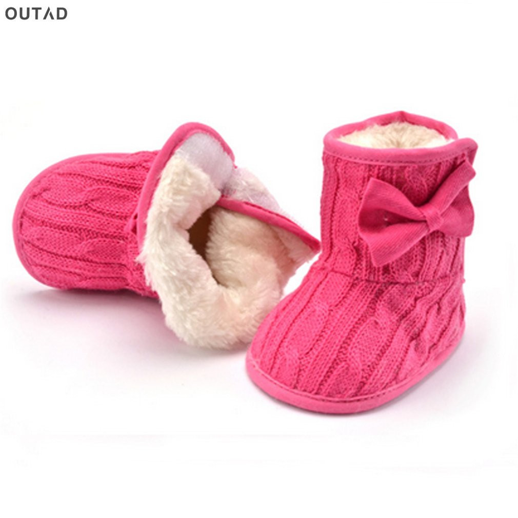 95315c20d6a7 Baby Girls Boys Shoes Winter Warm Thicken Soft Sole Prewalker Knit Bowknot  Faux Fleece Snow Boot Cute Anti-slip Boots 0-18months