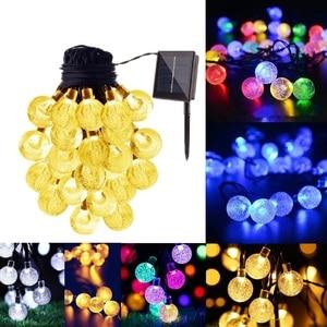 Image 3 - 5M 6.5M 7M 12M LED Solar Globe Bubble Ball String Lights 20/30/50/100LEDs Outdoor Waterproof Christmas Decor Ball Light String