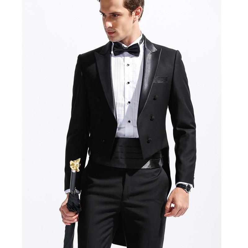 Black Formal Men Suits Tail Coat 2019 Peaked Lapel Custom Groom Tuxedos For Wedding 3 Piece Male Set Jacket Pants Waistband