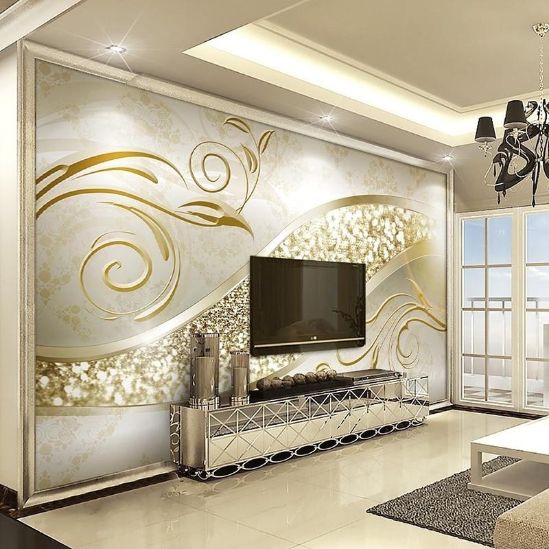 купить Custom Photo Wallpaper Luxury European Style Golden Abstract Flower Pattern Living Room TV Background Wall Mural Decor Wallpaper недорого