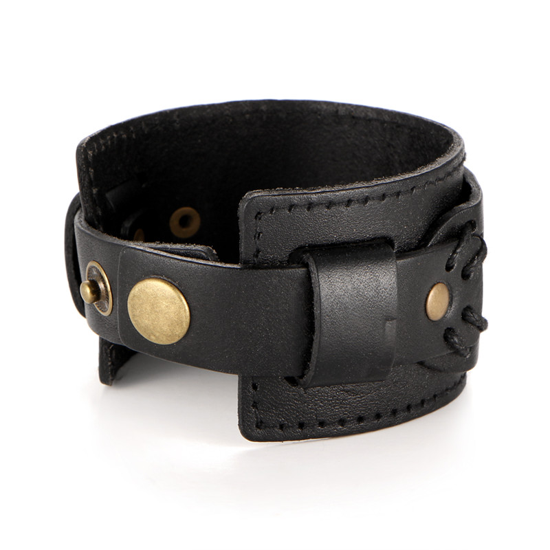 IF YOU Fashion Wide Double Layer Wrap wristband Leather Bracelet Homme Cuir For Men Fashion Casual Rock Cuff Armband Bracelets 14