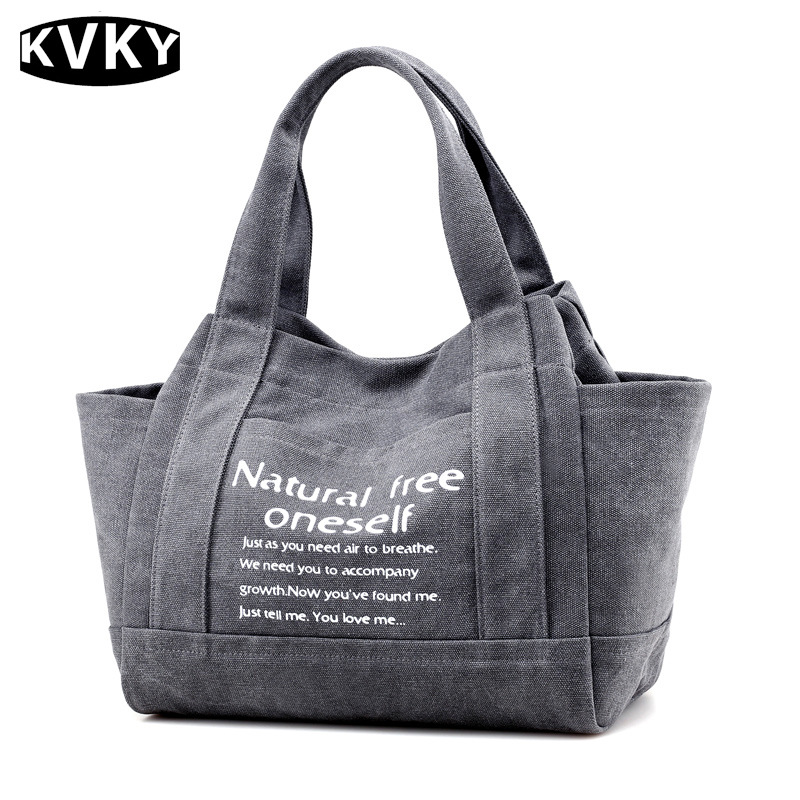 KVKY Brand Vintage Canvas Women Handbags Large Capacity Design Ladies Tote Bag Solid Shoulder Bag Casual Travel Bag Bolsa kvky vintage canvas women handbags large capacity patchwork casual female shoulder bags brand messenger bag totes bolsa feminina