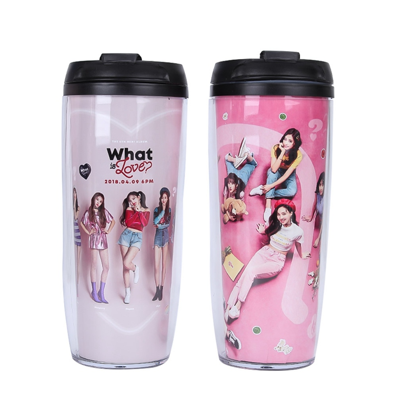 Kpop What is Love Album Curve 2 Layers Water Bottle For Tour Hiking Portable Climbing Camp Bottles image