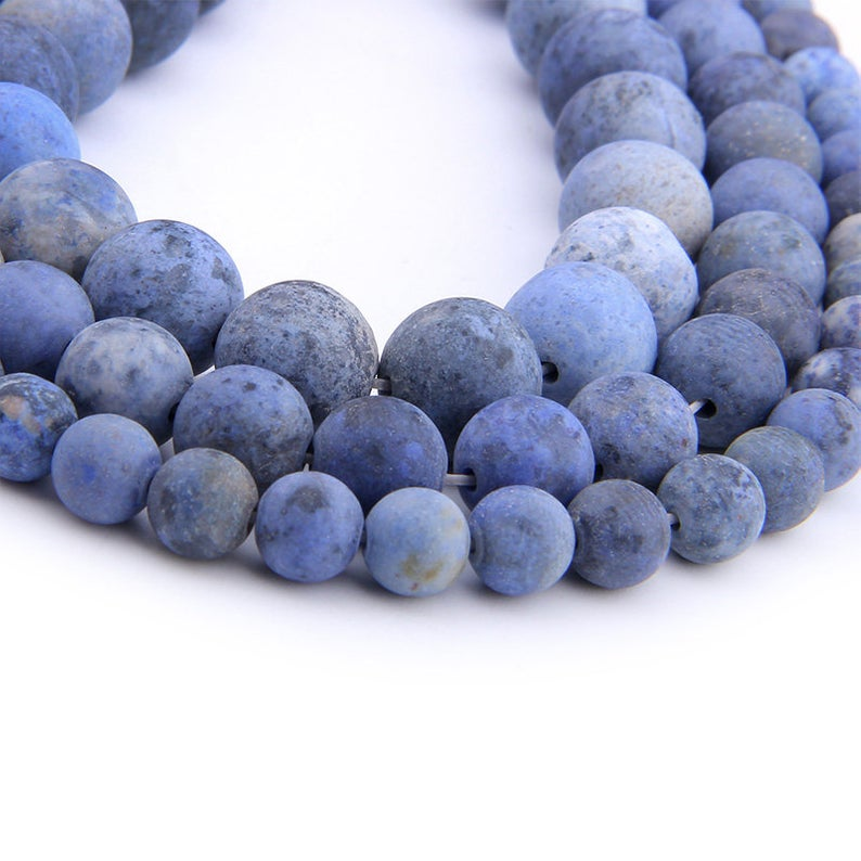 Dumortierite Matte Beads, Natural Gemstone Beads, Blue Stone Beads, Round Loose Frosted Beads 6mm 8mm 10mm