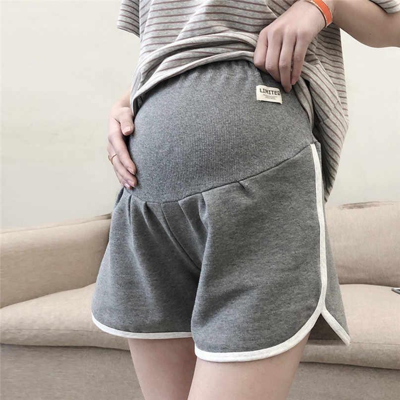 Bayanlar hamile kadınlar buzağı pantolon gebelik rahat yüksek bel şort hamile kadınlar pamuk mide asansör pantolon pantolon şort L13